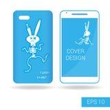 Bedecken Sie den mobilen Smartphone, der lustiges Kaninchenskelett in der Karikaturart auf weißem Hintergrund tanzt Auch im corel Stockfoto