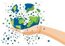 Bedecken Sie in der menschlichen Hand mit Erde und brach zu zerstören lizenzfreie abbildung