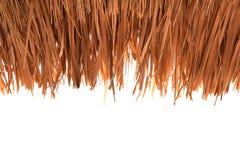 Bedecken Sie die Dächer mit Gras, mit Stroh gedeckt, auf weißem Hintergrundausschnitt Lizenzfreie Stockfotografie