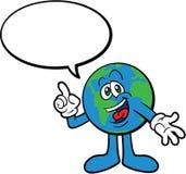 Bedecken Sie die Karikatur-Maskottchen-Zeichen-Unterhaltung mit Erde Stockfotos