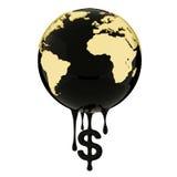 Bedecken Sie Dollarzeichenöl oder -diesel der Kugel tropfendes mit Erde Stockbilder