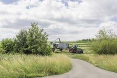Bedecken Sie Erntemaschinenladen in einen Anhänger mit Gras Lizenzfreies Stockfoto