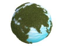 Bedecken Sie grünes Gras Europa Asien Südnord3d CG mit Erde stock abbildung