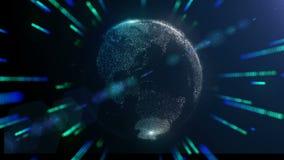 Bedecken Sie Hologramm mit Energie- oder Textfeld herum mit Erde stock video footage
