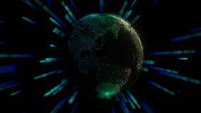 Bedecken Sie Hologramm mit Energie- oder Textfeld herum mit Erde stock video