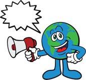 Bedecken Sie Karikatur-Maskottchen unter Verwendung des Megaphons mit Erde Stockbild