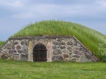 Bedecken Sie Keller, Kronborg-Schloss, Helsingör, Seeland, Danmark, Europa mit Erde lizenzfreies stockbild
