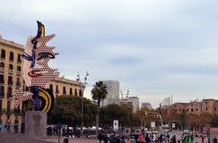 Bedecken Sie Kopf Des Barcelona von Barcelona- - Lichtenstein-scilpture mit einer Kappe Lizenzfreie Stockfotografie