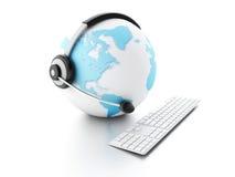 BEDECKEN SIE KUGEL MIT ERDE Konzept der globalen Kommunikation Stockbild