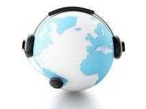BEDECKEN SIE KUGEL MIT ERDE Konzept der globalen Kommunikation Lizenzfreies Stockbild