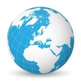 Bedecken Sie Kugel mit weißer Weltkarte und blaue die Meere und Ozeane mit Erde, die auf Europa gerichtet werden Mit dünnen weiße lizenzfreie abbildung