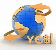 Bedecken Sie Kugel und Symbole von Yen, Euro, Dollar mit Erde Lizenzfreies Stockbild