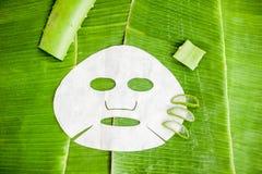 Bedecken Sie Maske mit Aloe auf einem Hintergrund des Bananenblattes Organisches Kosmetikkonzept Lizenzfreie Stockfotografie