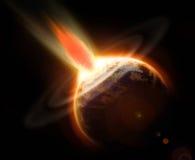 Bedecken Sie Massenlöschungtag des jüngsten gerichtsereignis von einem Kometen mit Erde Lizenzfreies Stockbild