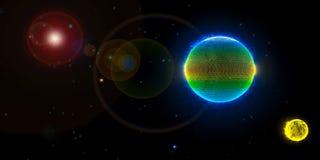 Bedecken Sie Mond und die Sonne im Weltraum mit Erde Stockfotos