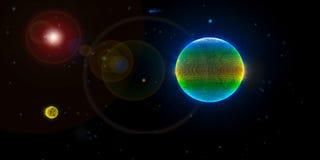 Bedecken Sie Mond und die Sonne im Weltraum mit Erde Stockbild