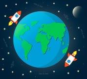 Bedecken Sie Raum mit Mond, Raketen, Satelliten und Sternen mit Erde stockbild