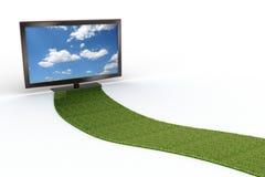 Bedecken Sie Straße zu einem stilvollen Schwarzes LCD-Fernsehapparat mit Gras stockfoto