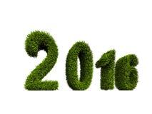 bedeckte Grün des neuen Jahres 2016 das Konzept mit Gras, das auf weißem Hintergrund lokalisiert wurde Lizenzfreies Stockfoto