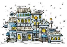 Bedekte de beeldverhaal vectorstad door sneeuw met een laag Royalty-vrije Stock Foto