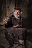 Bedelaar in de straten van Jeruzalem stock afbeelding