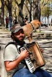 Bedelaar die de harmonika spelen die met zijn hond bedelen stock foto