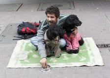 Bedelaar met honden ter plaatse Royalty-vrije Stock Afbeeldingen