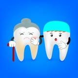 Bederf hogere tand met tandarts Stock Foto's