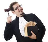 Bederf rechter met geld en wet royalty-vrije stock foto's