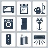 Bedeutende Ikonen des Vektors Geräteeingestellt Stockfotografie