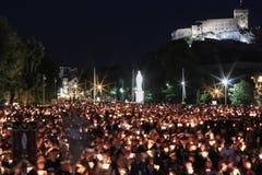 Bedevaart aan Lourdes stock foto