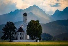 Bedevaartkerk St Coloman in Schwangau in Beieren stock foto's