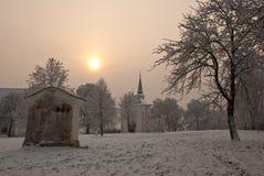Bedevaartplaats tegen de winterochtend Royalty-vrije Stock Fotografie