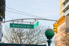 Bedford av. Street sign in Williamsburg (NYC Royalty Free Stock Image