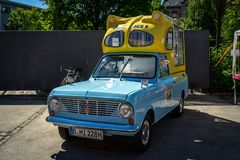 Bedford Beagle Viva HA Batman Ice Cream Van. BERLIN - MAY 06, 2018: Bedford Beagle Viva HA Batman Ice Cream Van. Oldtimertage Berlin-Brandenburg 31th Berlin royalty free stock images