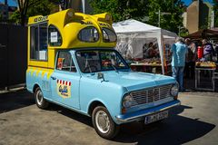 Bedford Beagle Viva HA Batman Ice Cream Van. BERLIN - MAY 06, 2018: Bedford Beagle Viva HA Batman Ice Cream Van. Oldtimertage Berlin-Brandenburg 31th Berlin royalty free stock image