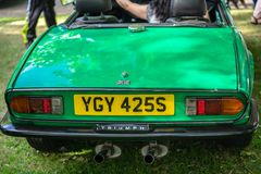 Bedford, Bedfordshire, UK June 2 2019 Fragment of The Triumph GT6. Production ran from 1966 to 1973. Triumph GT6 is a 6-cylinder sports coupe built by Standard stock photos