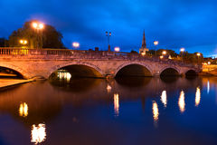 Bedford Bridge in Bedford, England. The Bedford Bridge is a five arch bridge which replaced an earlier bridge on the same site that fell into decay. The old Royalty Free Stock Image