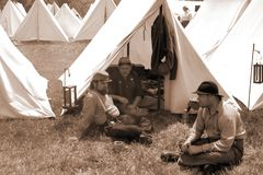 "Reenactors at the Encampment at the ""Battle of Liberty"" - Bedford, Virginia. Bedford County, Virginia, USA – April 29th: Reenactors at the rebel encampment Royalty Free Stock Images"
