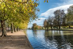 Bedford embankment in the UK. Bedford Embankment on the banks of the Great Ouse River in the county of Bedfordshire in UK England royalty free stock image