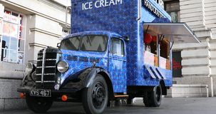 Bedford Food Truck In London. London, UK, May 28, 2019: Beautiful Retro Blue Bedford Handcrafted Ice Cream Food Truck On The Southbank In London, United Kingdom stock footage