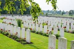 Bedford House Cemetery-wereldoorlog één Ypres Flander België stock foto