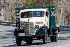 1946 Bedford KM Truck driving on country road. Adelaide, Australia - September 25, 2016: Vintage 1946 Bedford KM Truck driving on country roads near the town of Stock Photo