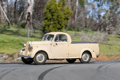 1949 Bedford PC Utility driving on country road. Adelaide, Australia - September 25, 2016: Vintage 1949 Bedford PC Utility driving on country roads near the town Royalty Free Stock Photos