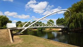 Bedford River Ouse Butterfly footbridge over the River Ouse. Bedford Bedfordshire River Ouse Butterfly footbridge over the River Ouse royalty free stock image