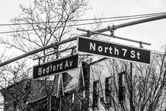 Bedford and 7th. Street sign in Williamsburg (NYC Stock Images