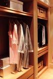 Bedgown in houten garderobe Royalty-vrije Stock Afbeelding