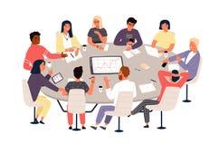 Bedienden of collega's die bij rondetafel zitten en idee?n of brainstorming bespreken Commerci?le vergadering, formele onderhande stock illustratie