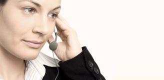 Bediener mit Kopfhörer stockfoto