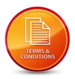 Bedingungen (Seitenikone) spezieller glasiger orange runder Knopf stock abbildung